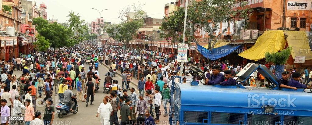 Curfew relaxed for 2 hrs in violence-hit areas of Jaipur stock photo