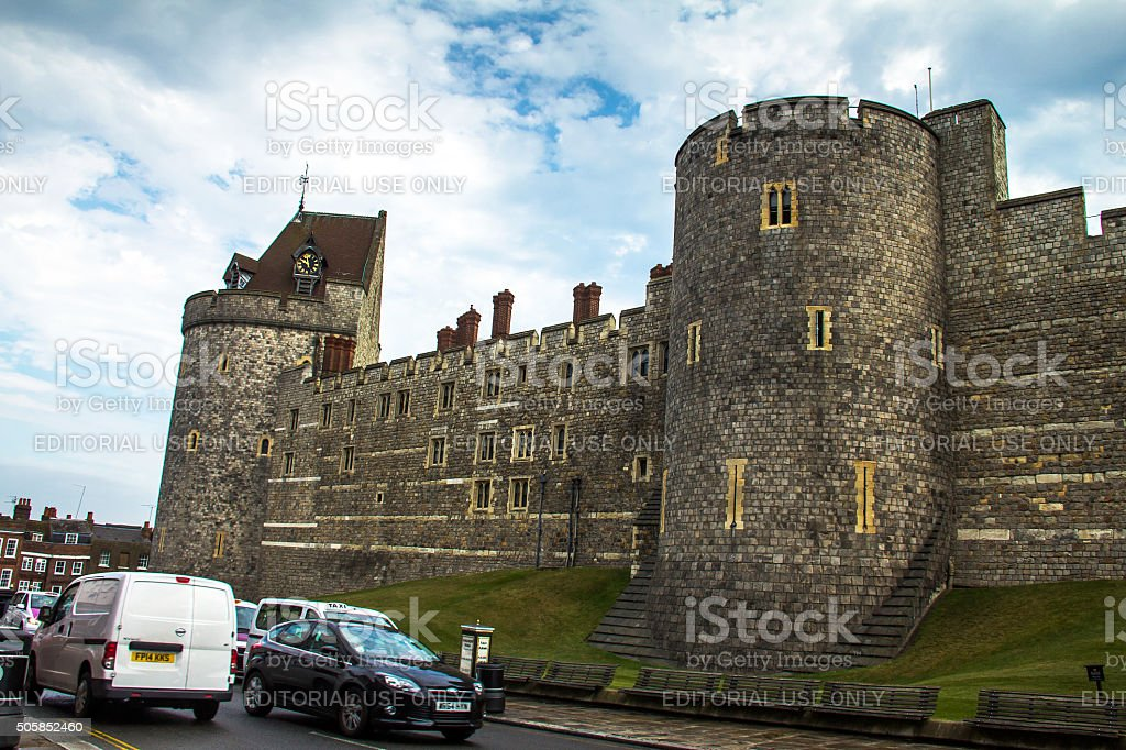 Curfew Tower in medieval Windsor Castle. stock photo