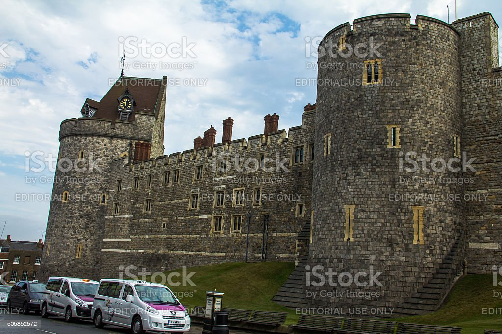 Curfew Tower of  medieval Windsor Castle. stock photo