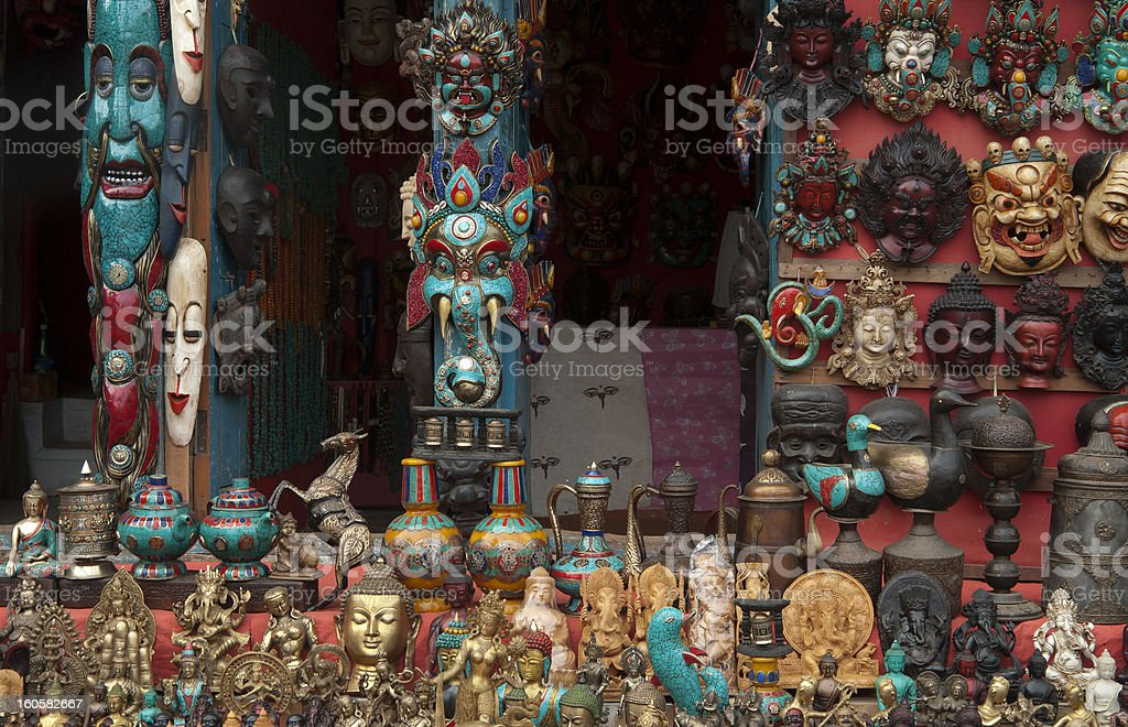 curio shop in Nepal stock photo