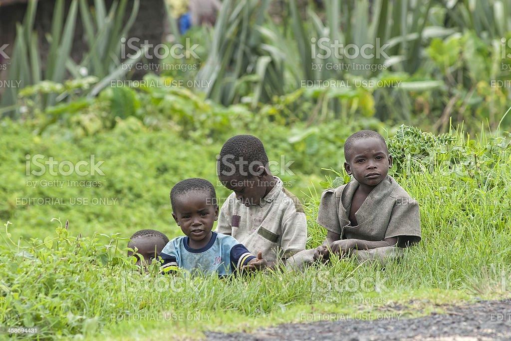 Curios looking children at the roadside, North-Kivu, Congo stock photo