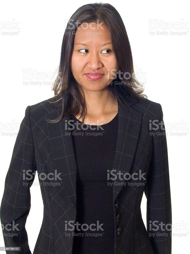 Curious asian female stock photo