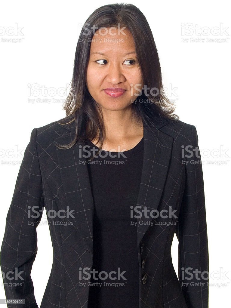 Curious asian female stock photo