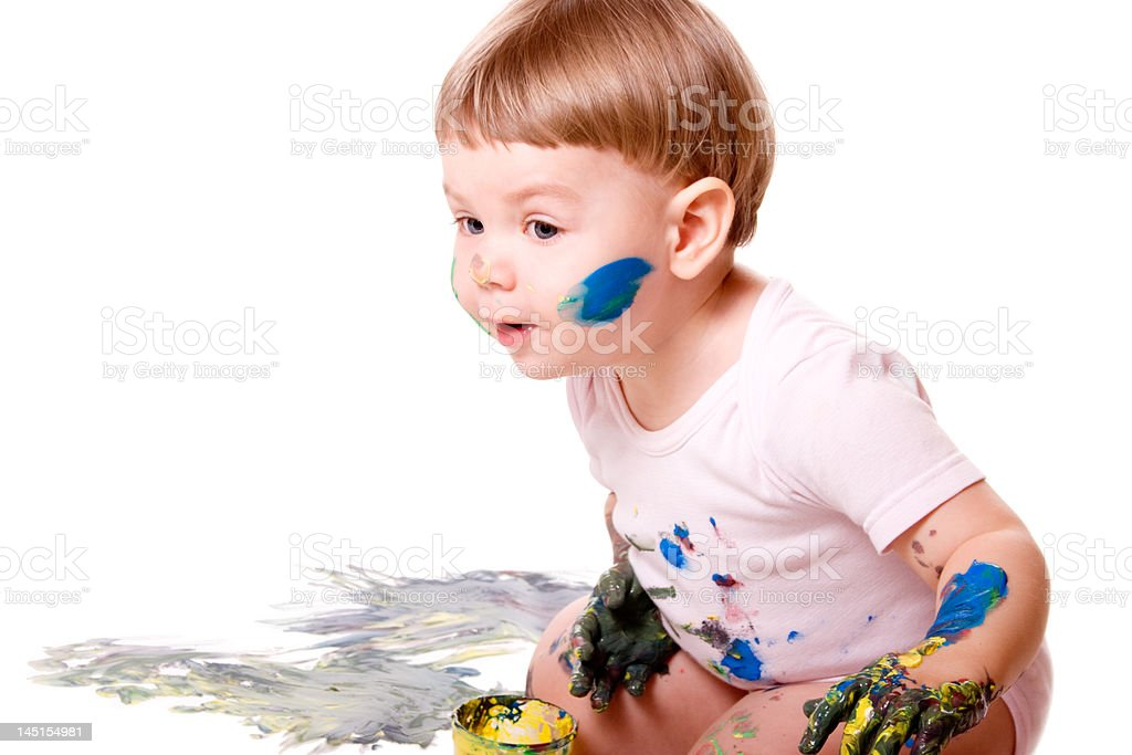 Curious baby painting stock photo