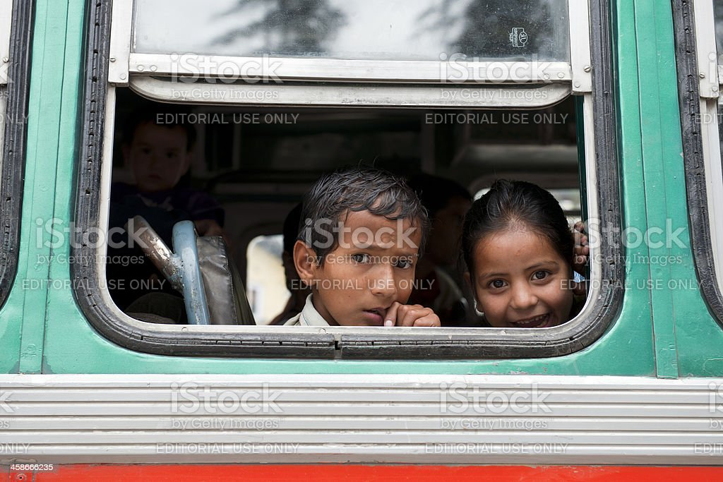 Curious Children in Bus Manali Northern India stock photo