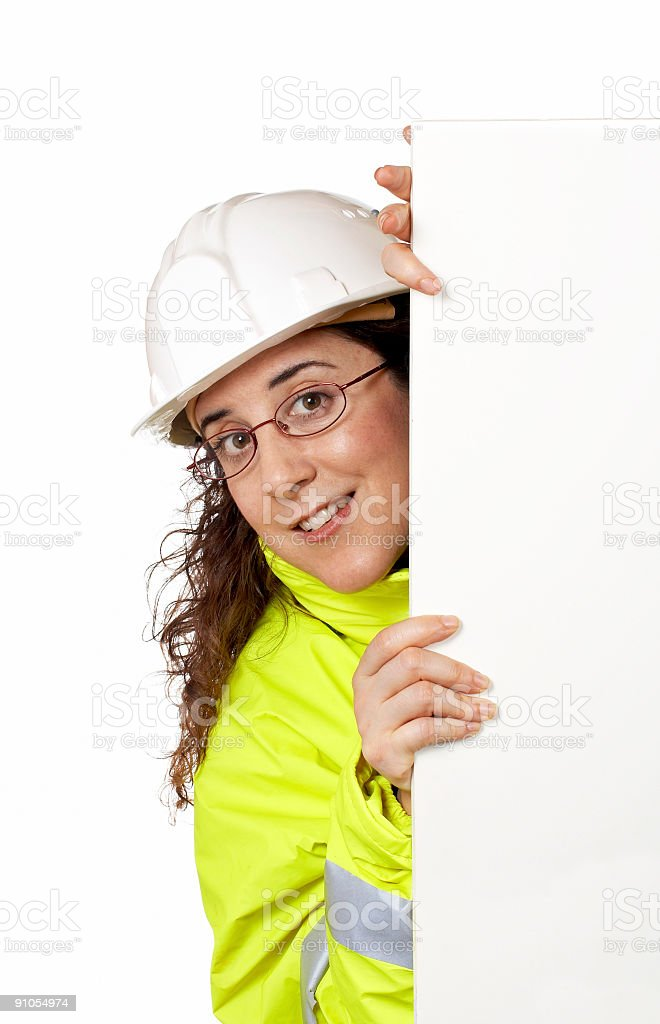 Curious female construction worker royalty-free stock photo