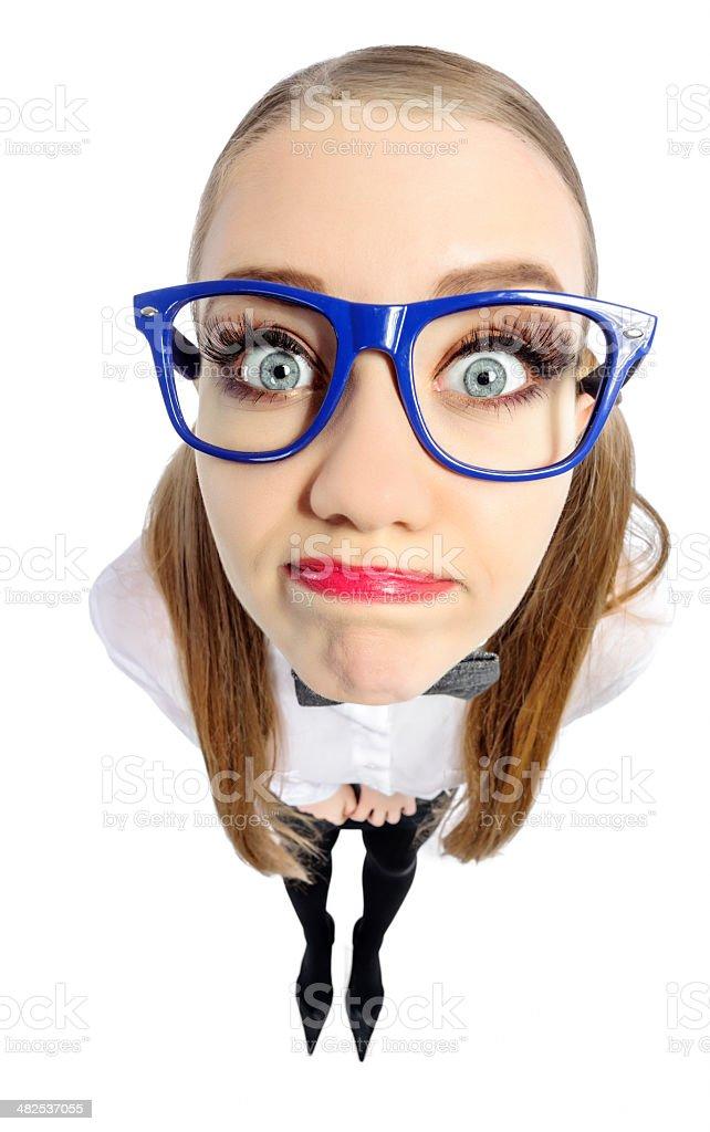 curious geek woman stock photo
