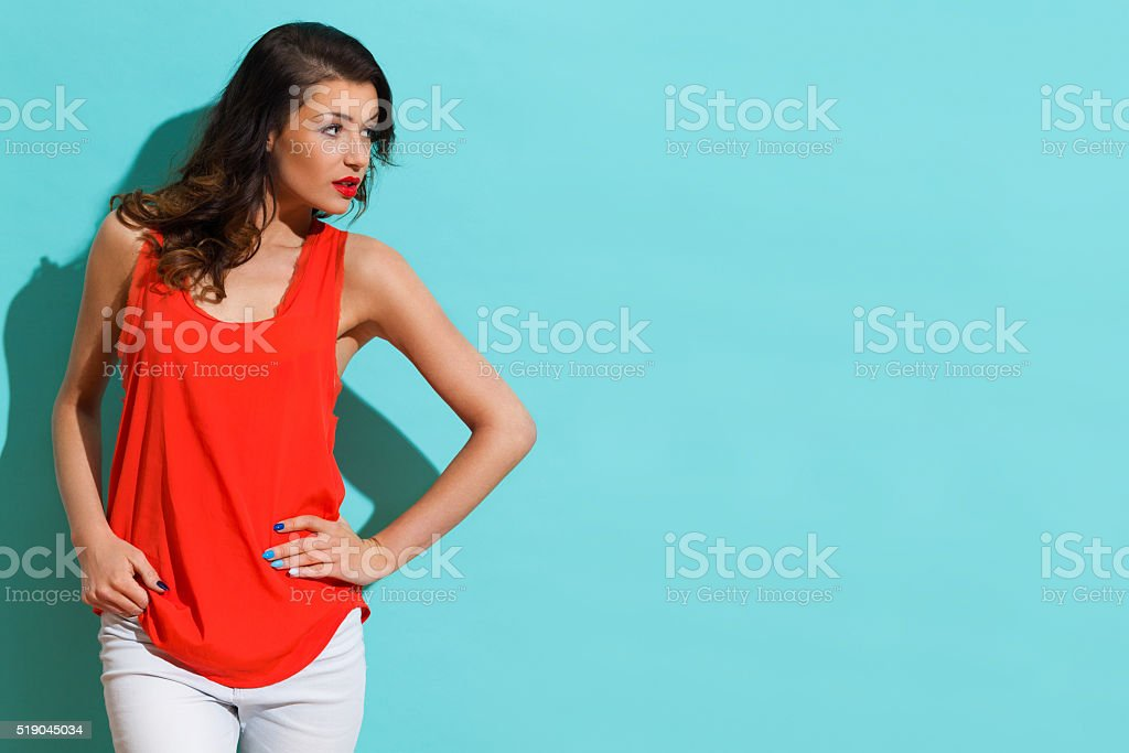 Curious Girl In Red Shirt stock photo