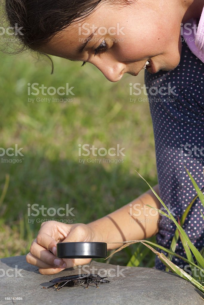Curious Girl Looking At Beetle Through Magnifying Glass royalty-free stock photo