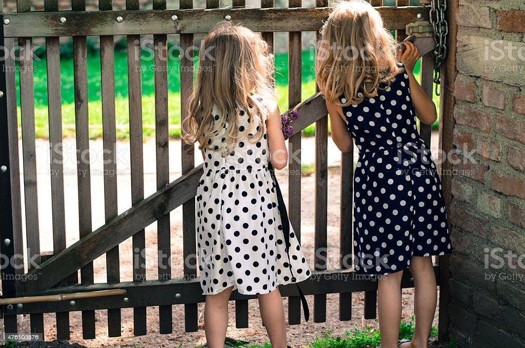 curious girls stock photo