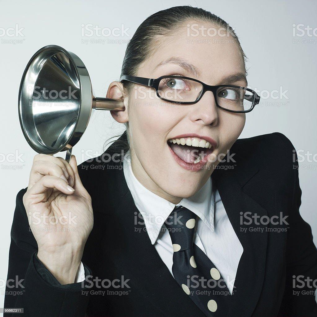 curious gossip woman listening stock photo