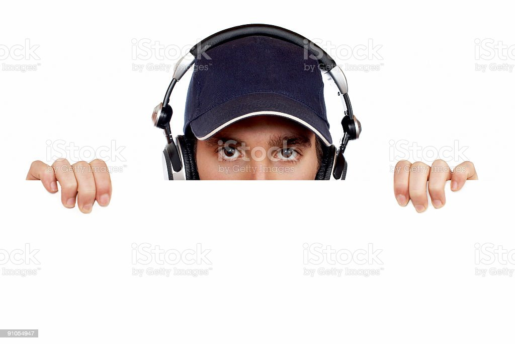 Curious handsome disc jockey royalty-free stock photo
