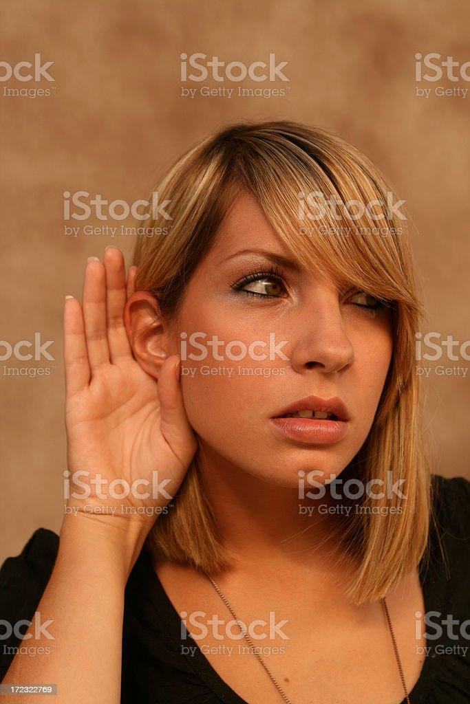 Curious listener stock photo