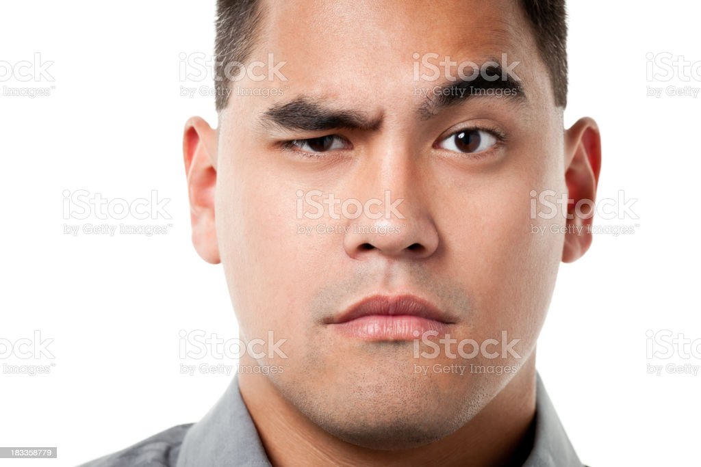Curious Man Raises Eyebrow royalty-free stock photo