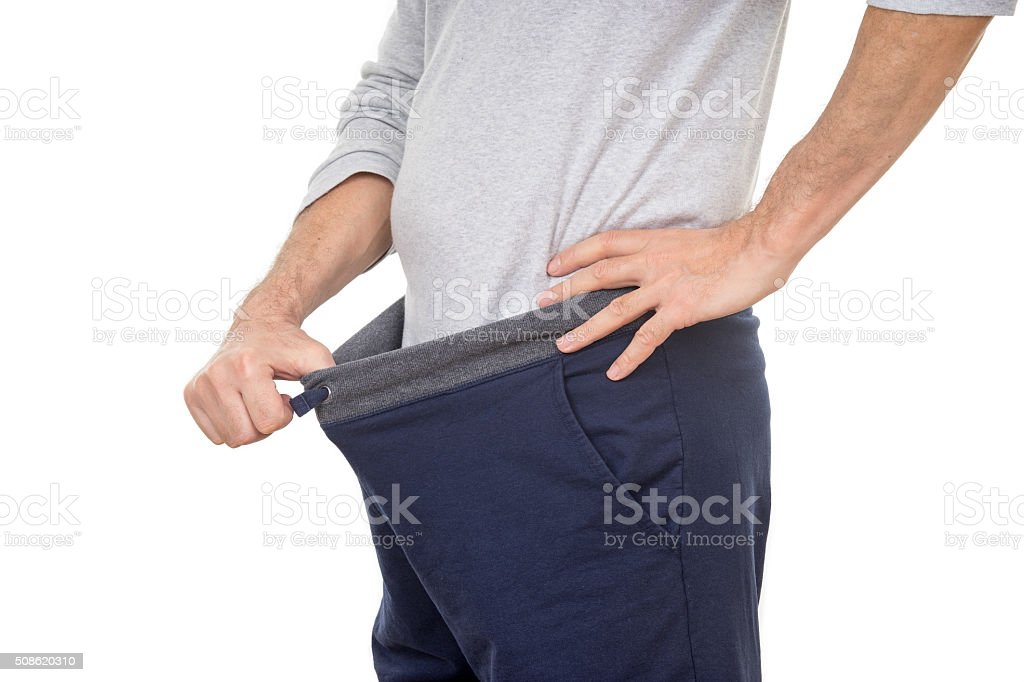 Curious Old Man Looking in His Pants stock photo