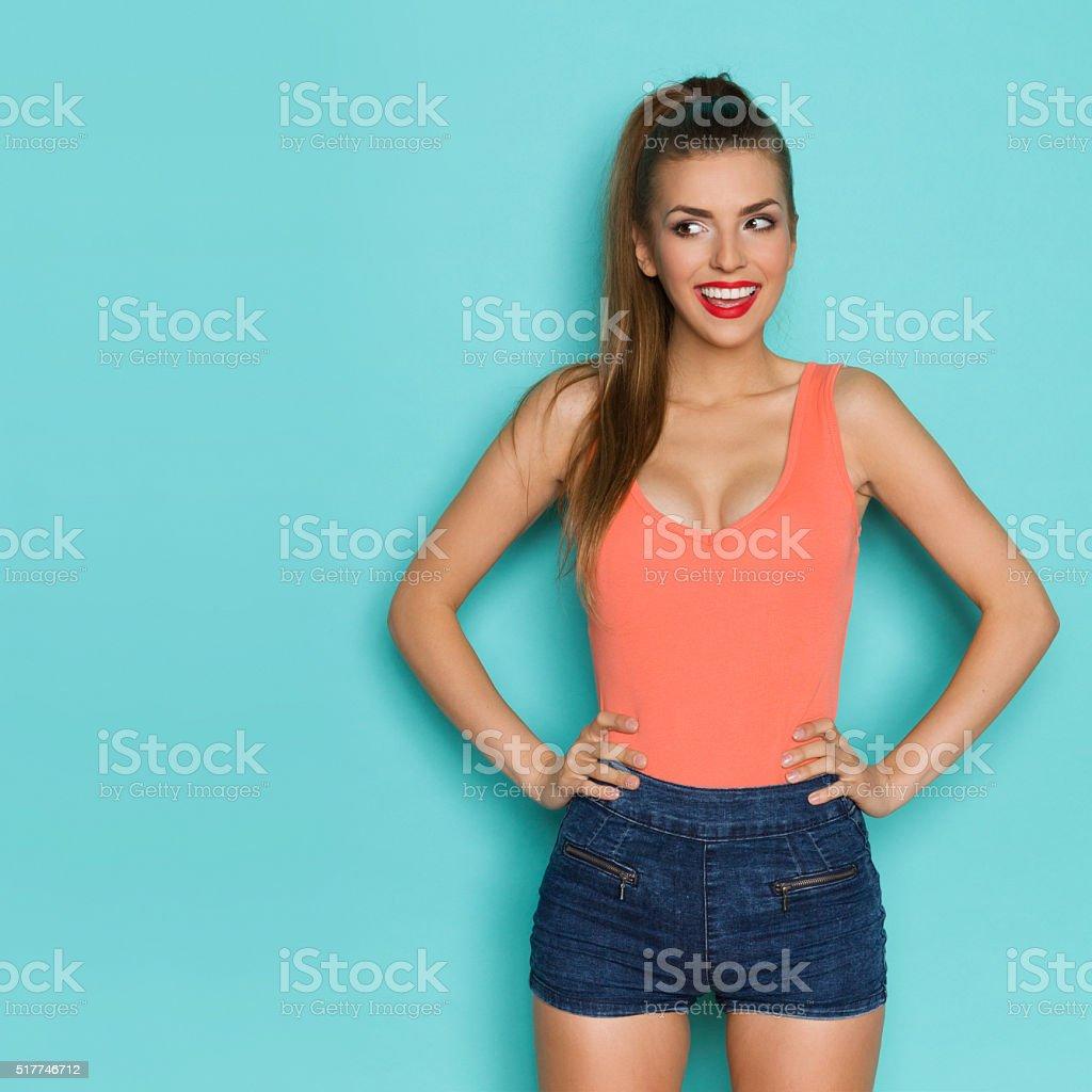 Curious Smiling Girl stock photo