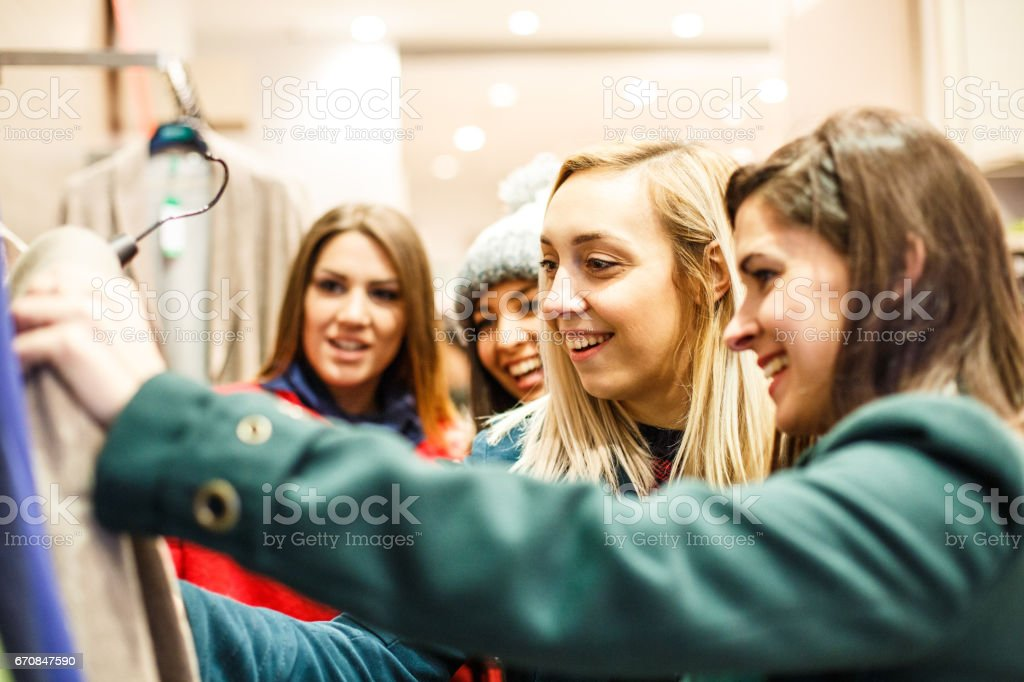 Curious view of chic girls stock photo