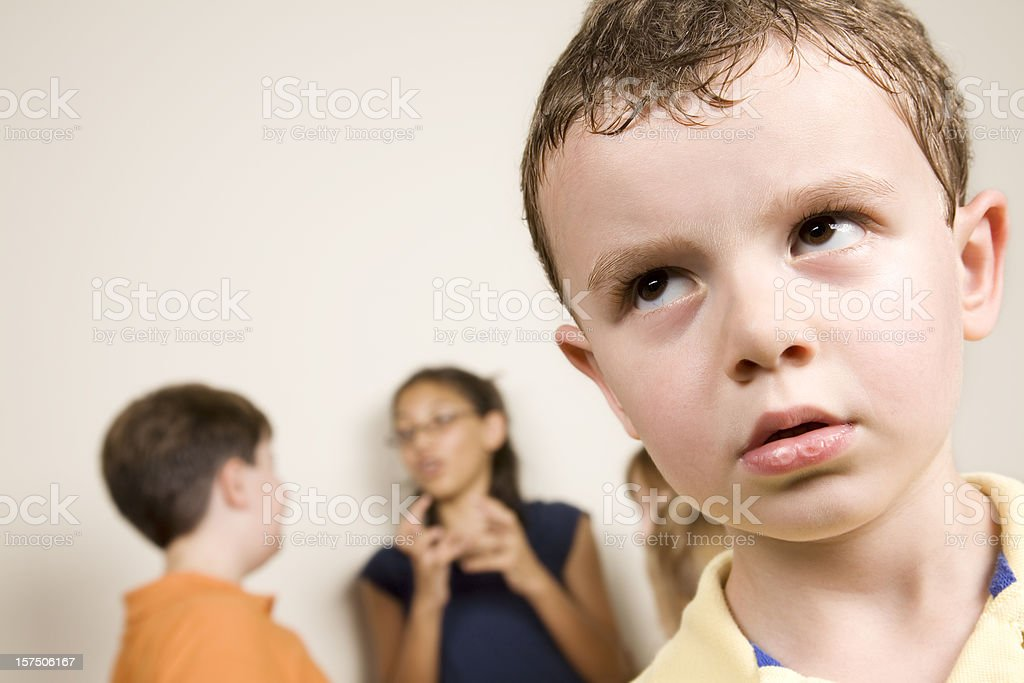 Curious Young Boy Looking Up royalty-free stock photo
