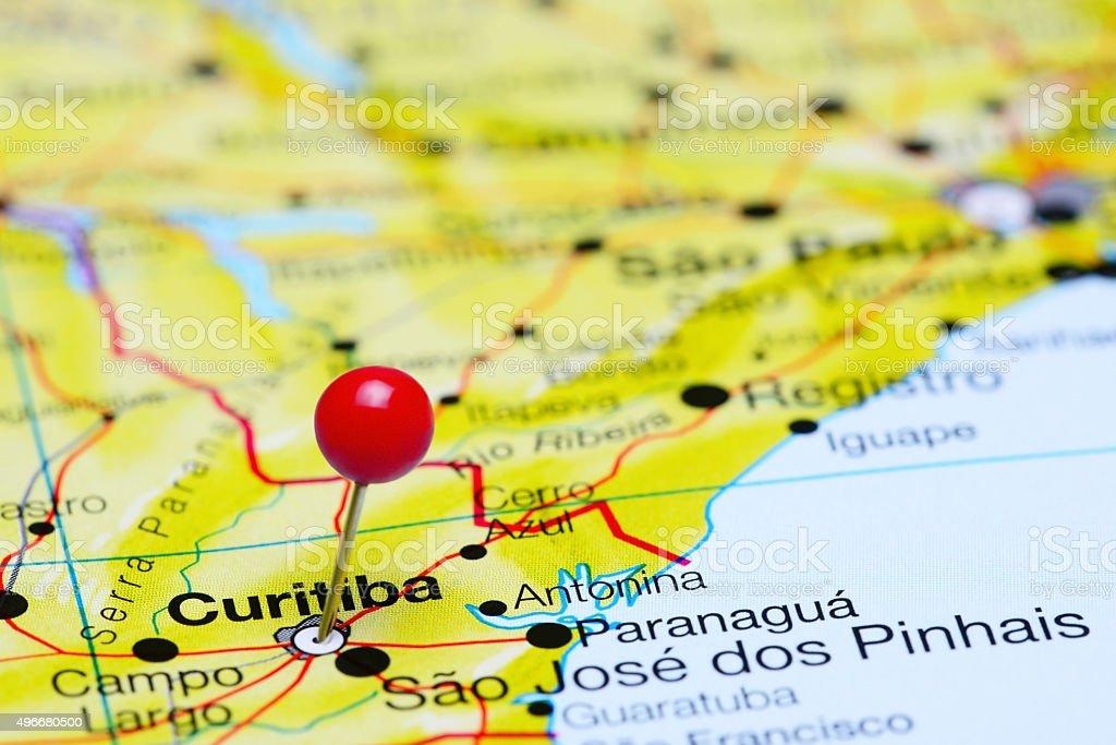 Curitiba pinned on a map of Brazil stock photo