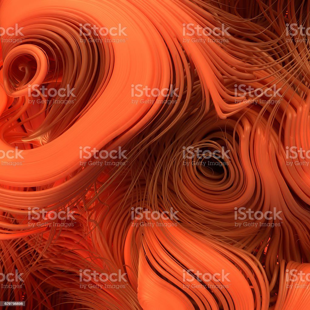Curl noise flow abstract orange lines. Very shallow depth of stock photo