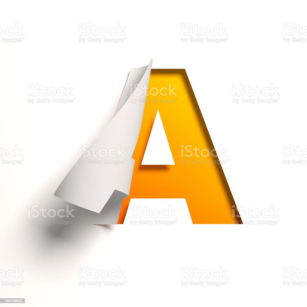 Curl paper font letter A stock photo