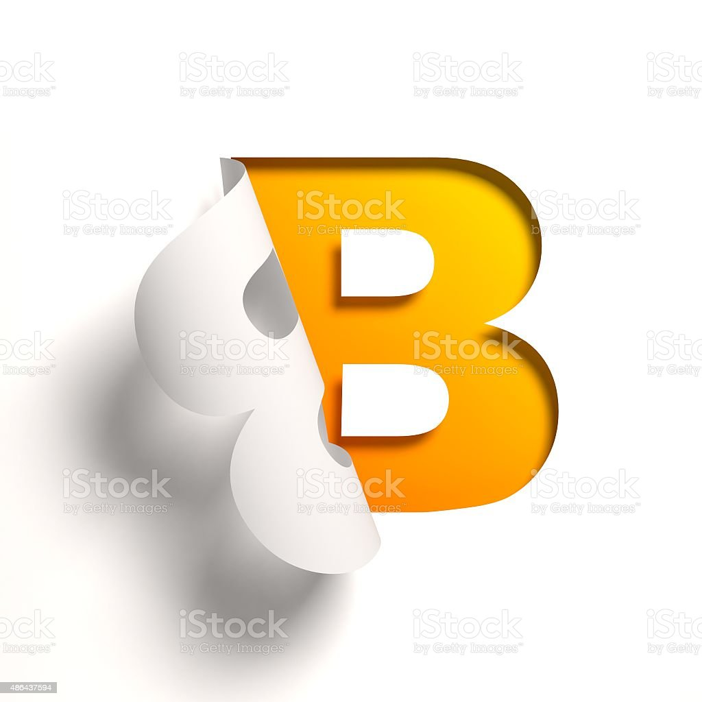 Curl paper font letter B stock photo