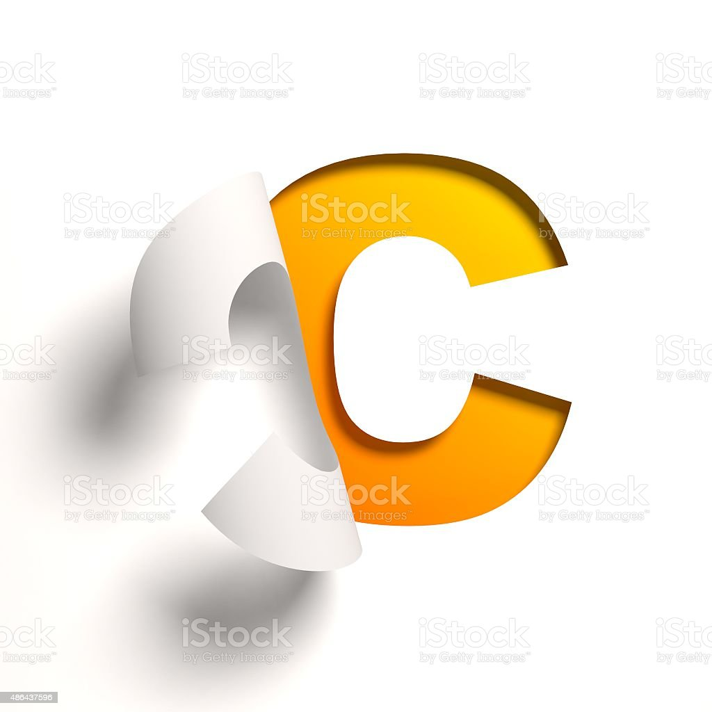 Curl paper font letter C stock photo