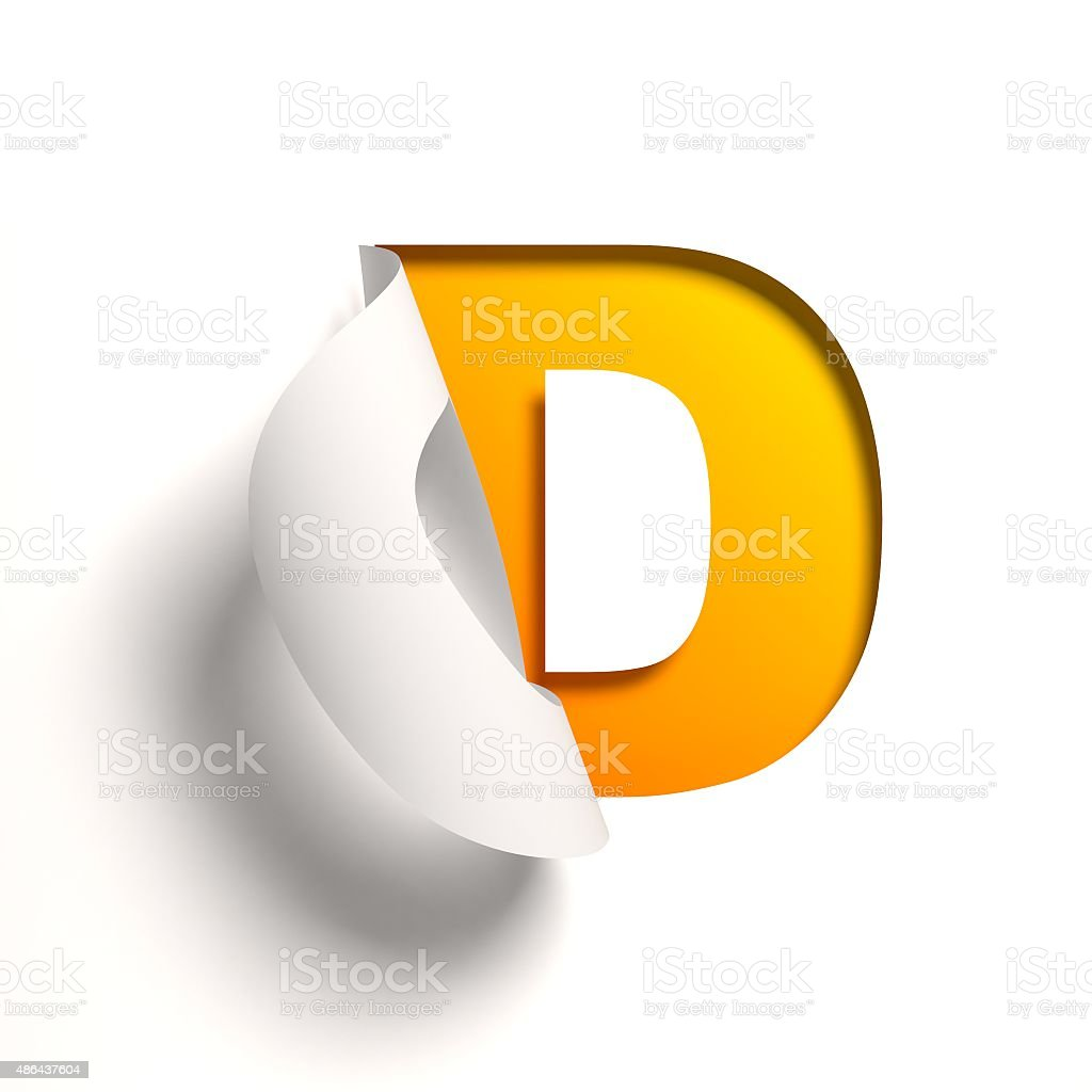 Curl paper font letter D stock photo