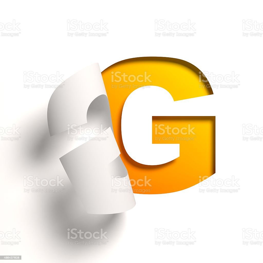 Curl paper font letter G stock photo