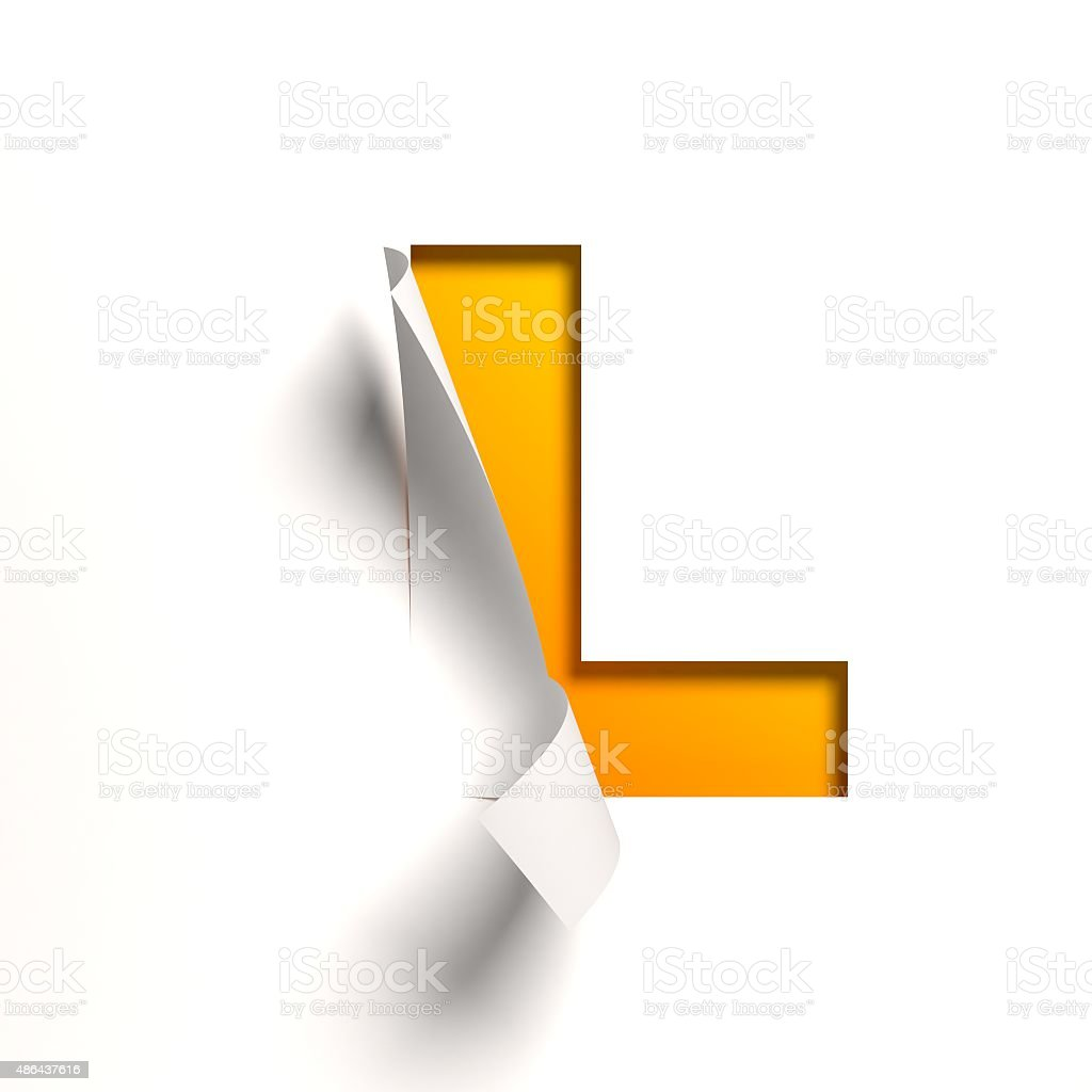 Curl paper font letter L stock photo