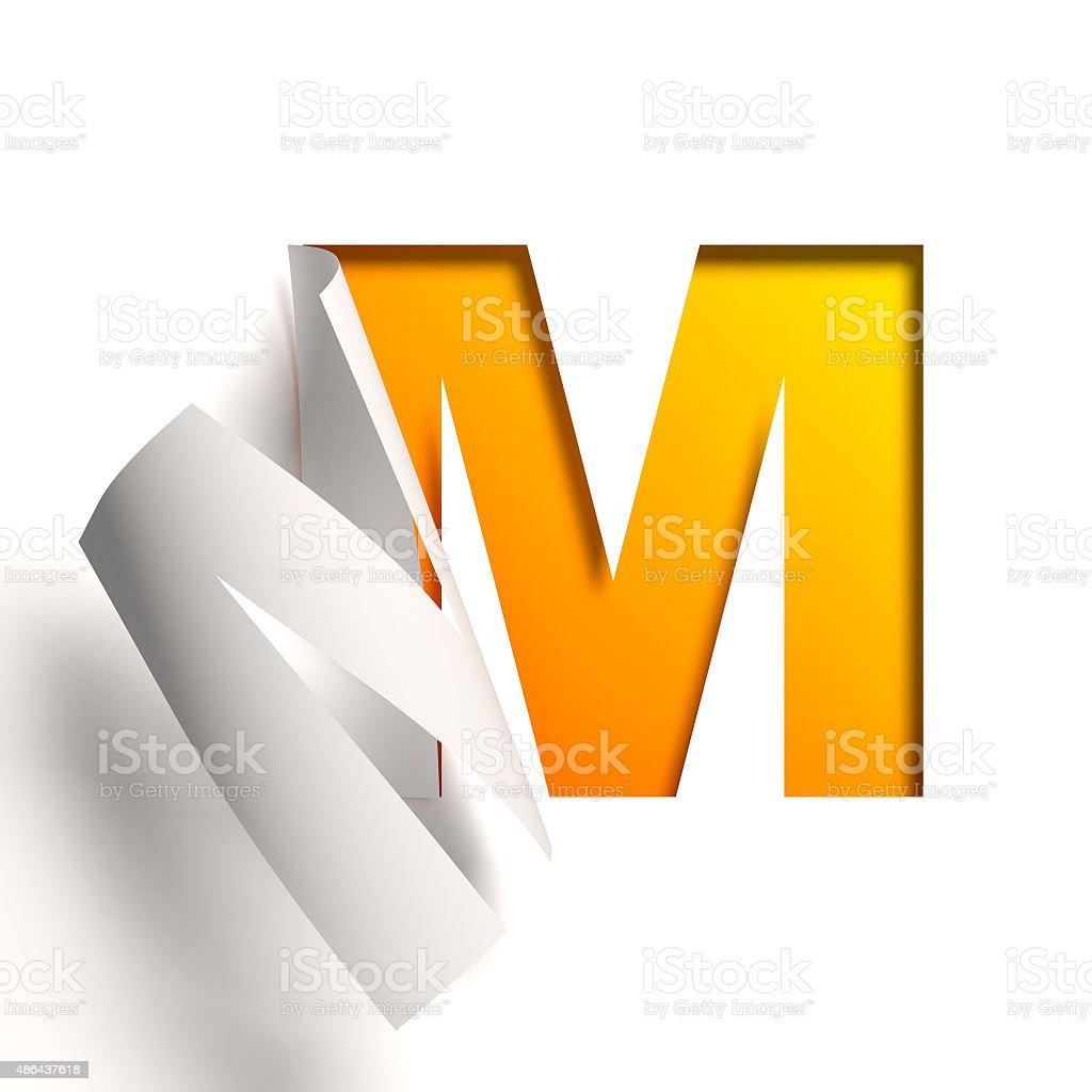 Curl paper font letter M stock photo