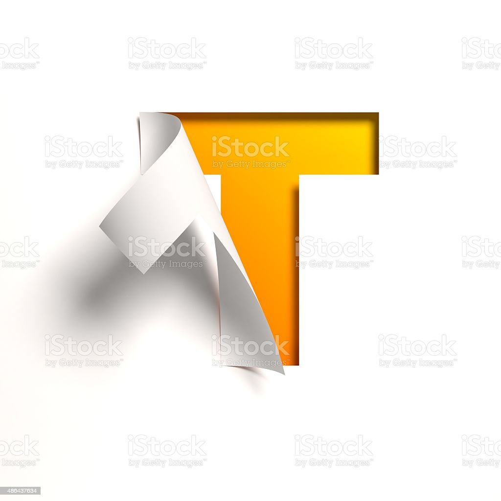 Curl paper font letter T stock photo