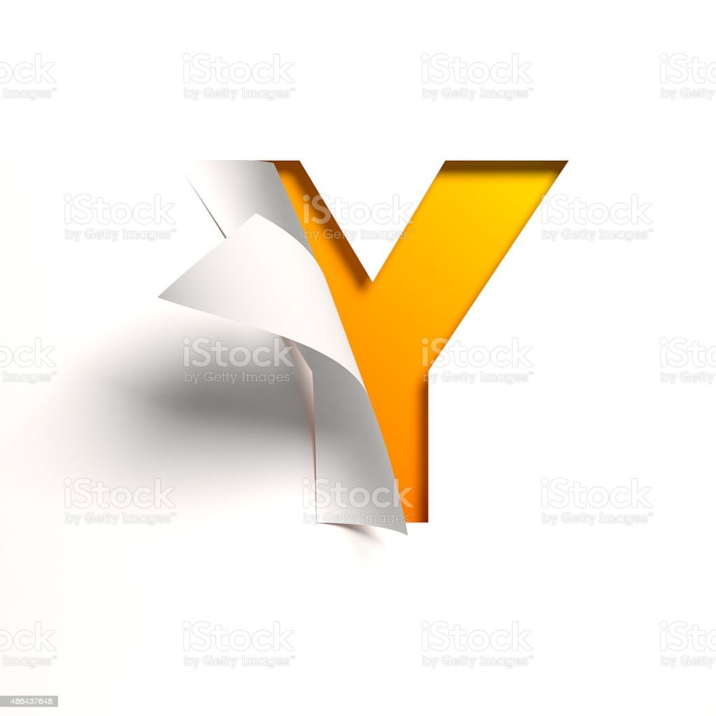 Curl paper font letter Y stock photo