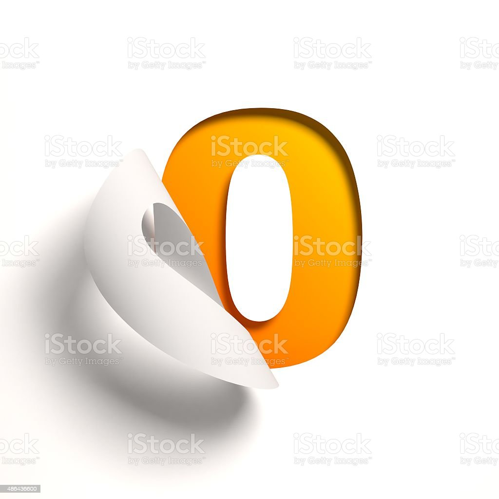 Curl paper font number 0 stock photo