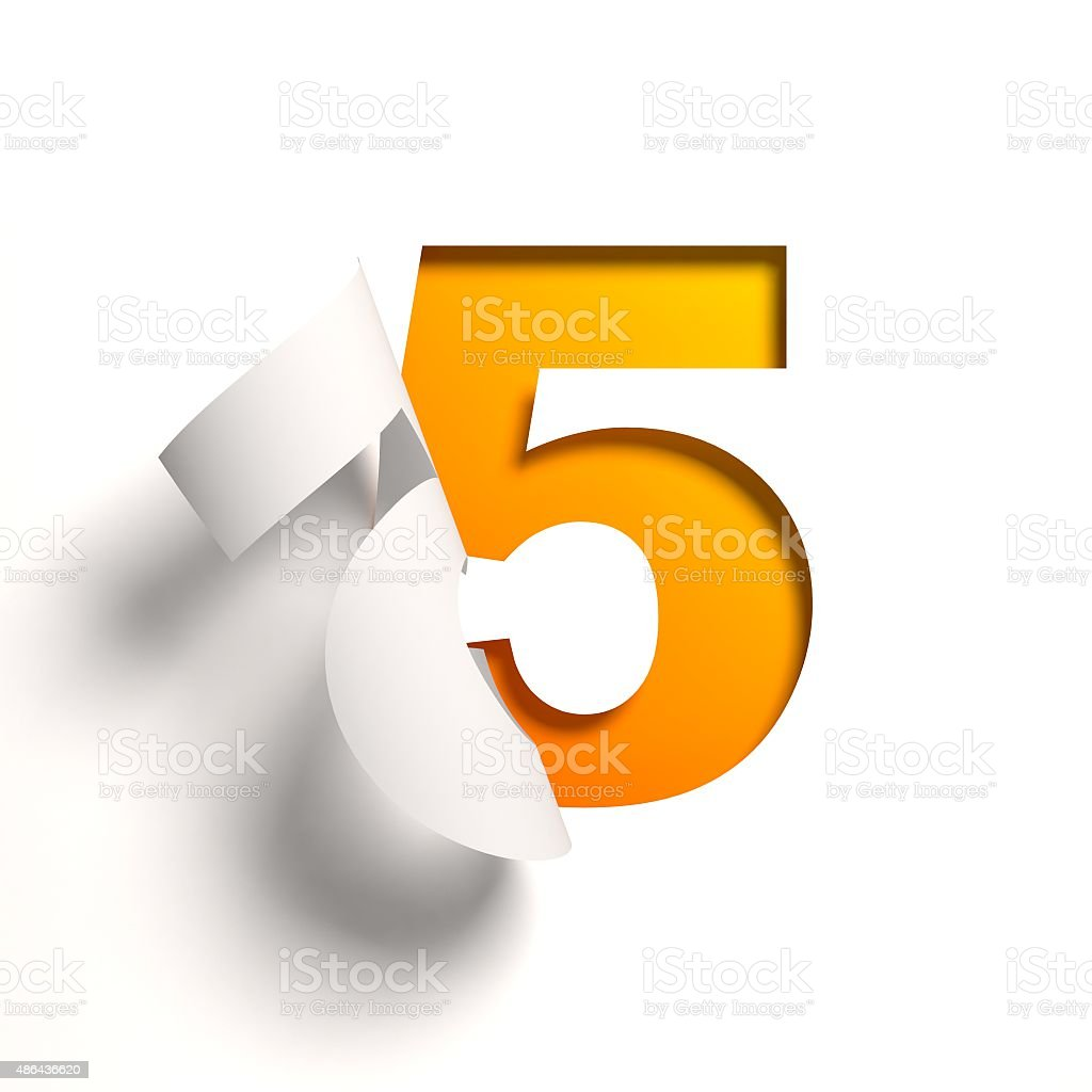 Curl paper font number 5 stock photo