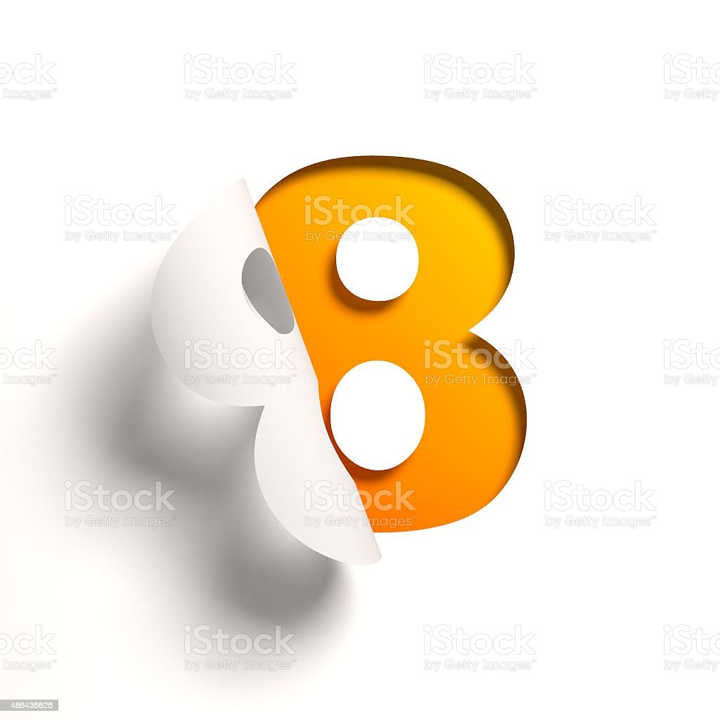 Curl paper font number 8 stock photo