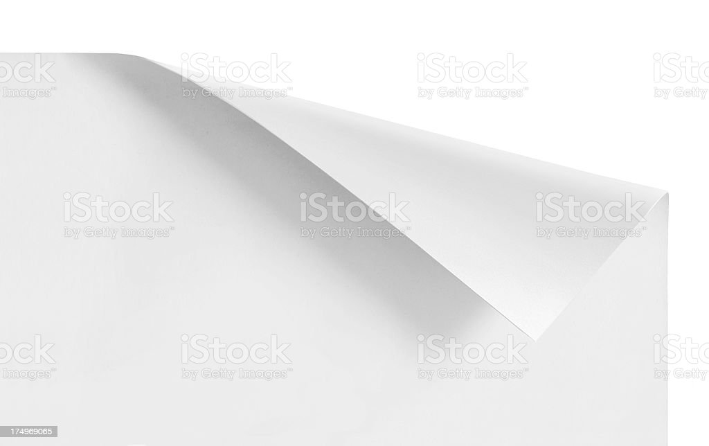 Curled corners of white sheet paper stock photo