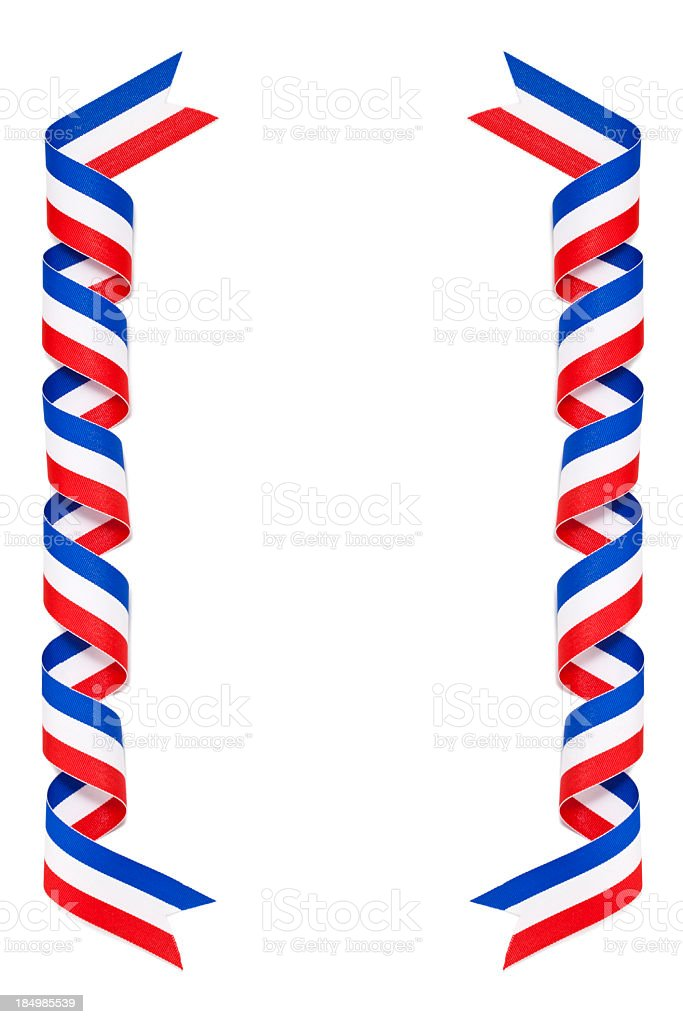 Curled Red White and Blue Ribbon royalty-free stock photo