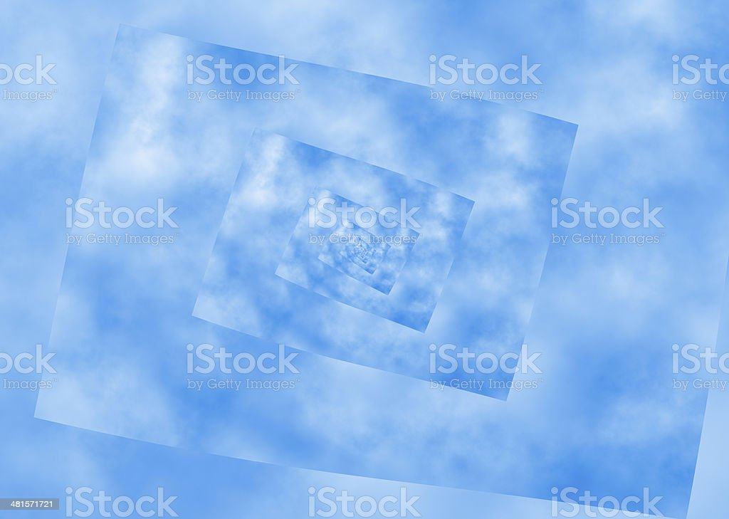curled spiral perspective of blue sky. distortion pattern stock photo