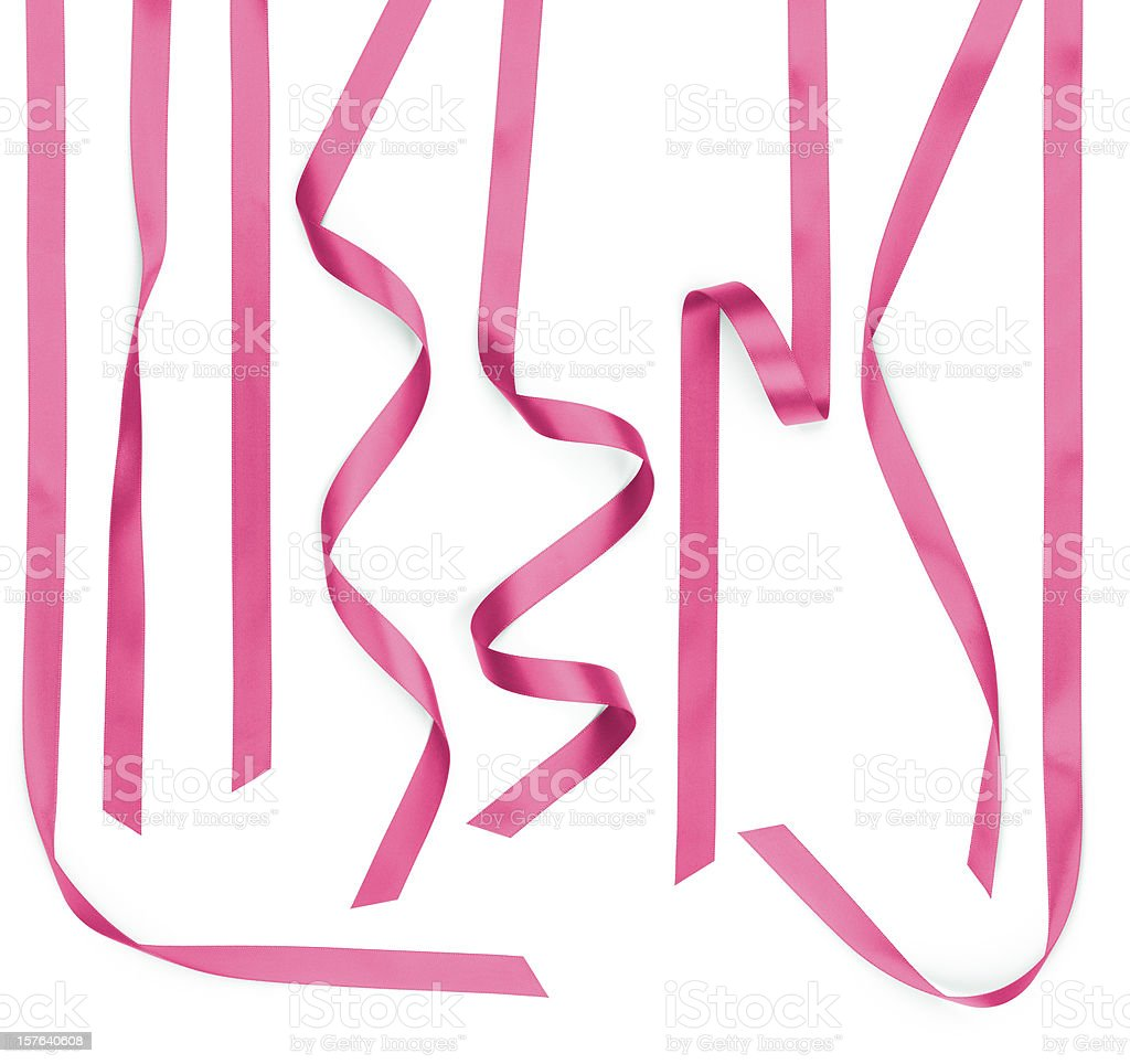 Curled Twisted Pink Satin Ribbon Strips Isolated on White stock photo