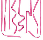 Curled Twisted Pink Satin Ribbon Strips Isolated on White