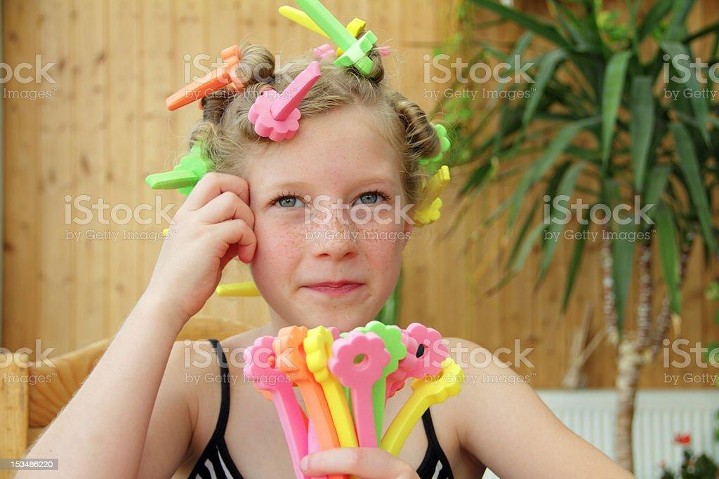curler girl stock photo