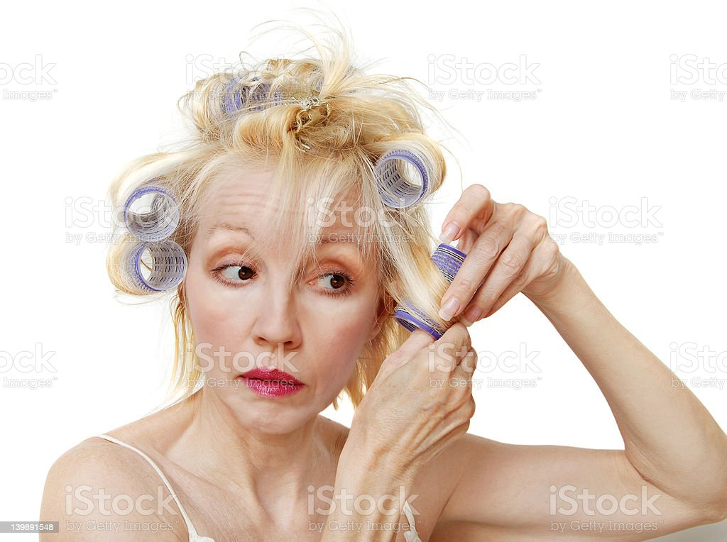 Curlers Woman royalty-free stock photo