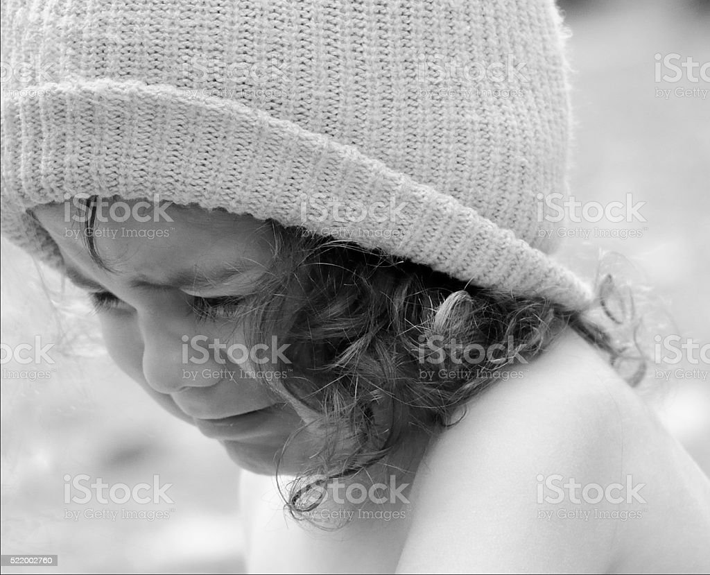 Curley Haired Boy Crying stock photo