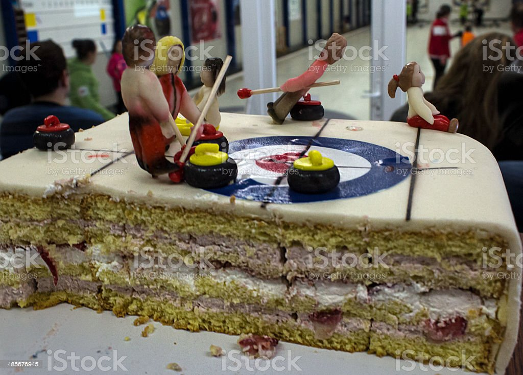 Curling cake stock photo