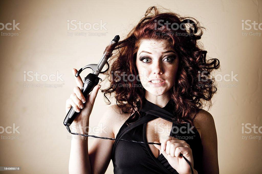 Curling Hair Series:  Unsure stock photo