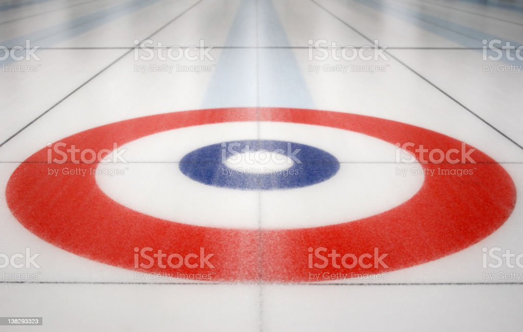 Curling House inside ice shed stock photo