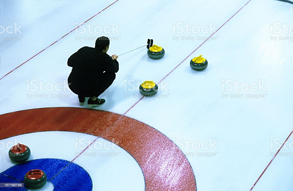 Curling in action royalty-free stock photo