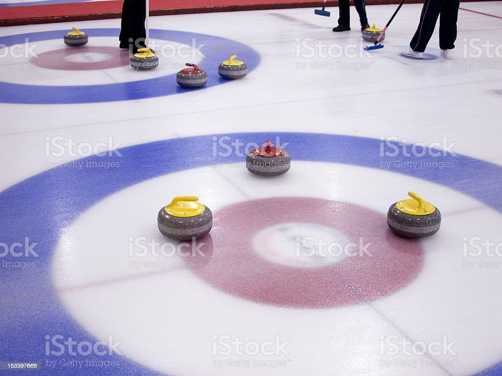 Curling on an indoor rink stock photo