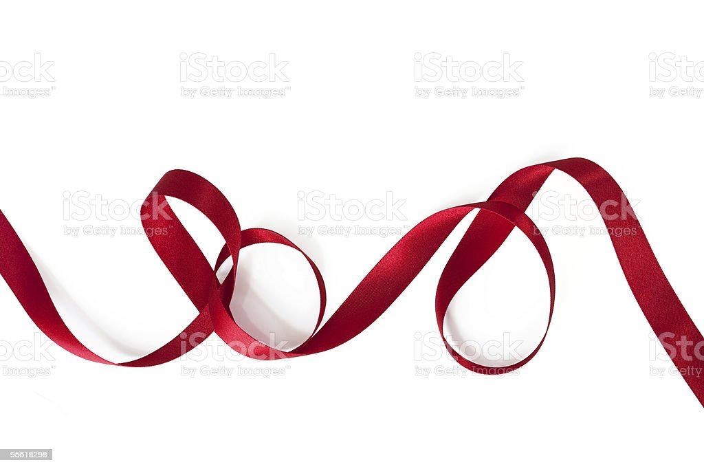 Curling Red Ribbon stock photo